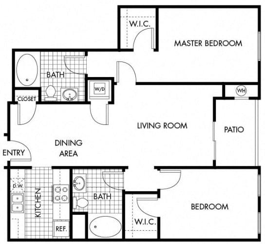 Floor Plan  Mayfair Residences 2Bed 2Bath Floorplan G