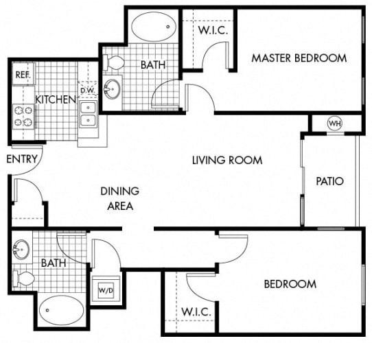Floor Plan  Mayfair Residences 2Bed 2Bath Floorplan E