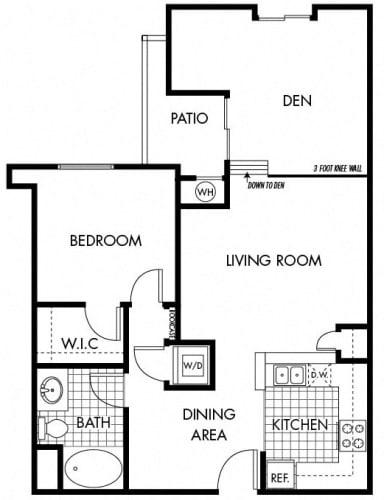 Floor Plan  Mayfair Residences 1Bed 1Bath + Den Floorplan B
