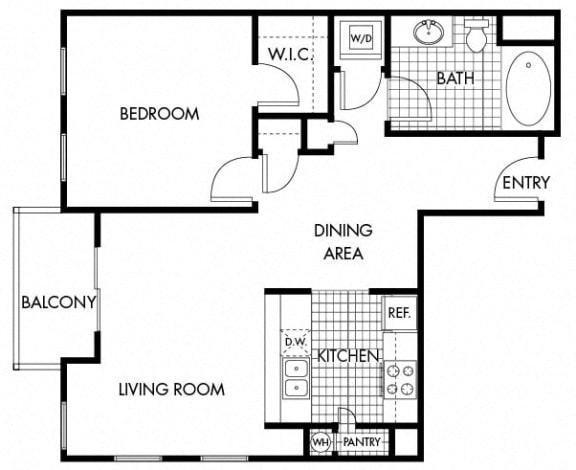 Floor Plan  Mayfair Residences 1Bed 1Bath Floorplan H