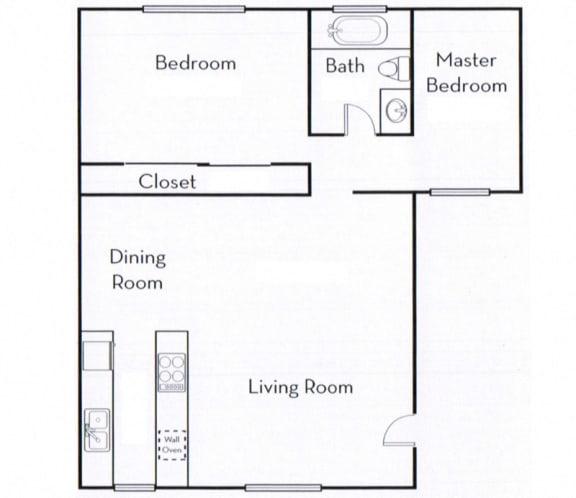 Floor Plan  Ocean View Townhomes 2 Bedroom 1 Bath floor plan