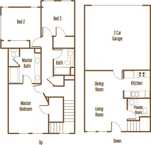 Floor Plan  Parkside Villas 3 bedroom 2.5 bathroom floor plan