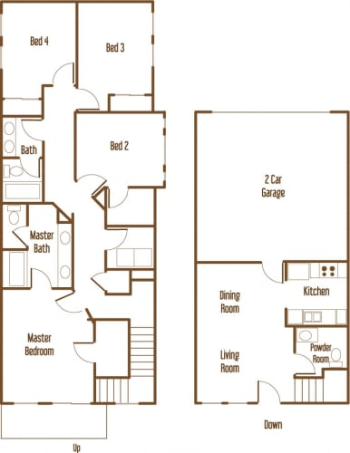 Floor Plan  Parkside Villas 4 bedroom 3.5 bathroom floor plan