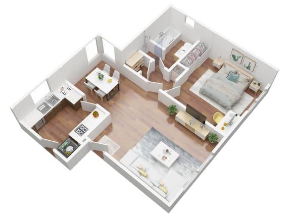 Floor Plan  1 Bedroom Floor plan 3D