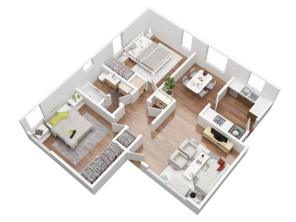 Floor Plan  2 Bed room floorplan 3D