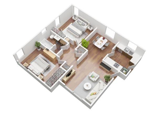 Floor Plan  2 Bedroom Floorplan 3D