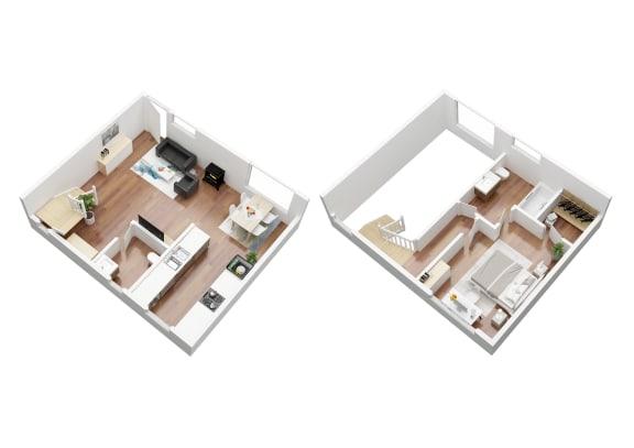 Floor Plan  1 Bedroom Mariposa Townhouse.