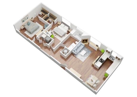 Floor Plan  2 Bedroom Acacia Floorplan