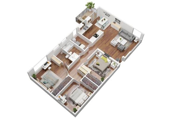 Floor Plan  3 bedroom Oak Floorplan