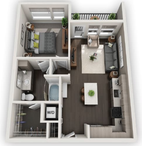Floor Plan  1X1 A2 available at Fusion 355 in Broomfield, CO