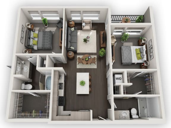 Floor Plan  2X2 B1 available at Fusion 355 in Broomfield, CO