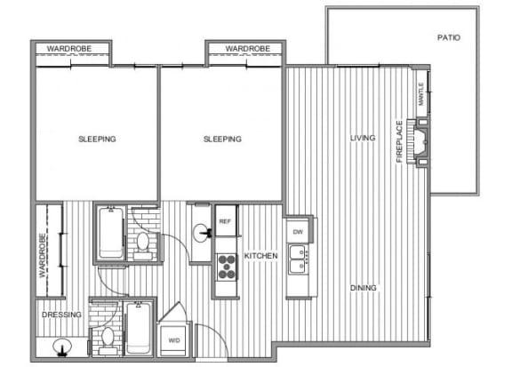 Floor Plan  Two bedroom floor plan l Apartments for rent in Coronado CA