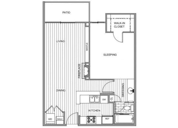 Floor Plan  One bedroom floor plan l Apartments for rent in Coronado CA