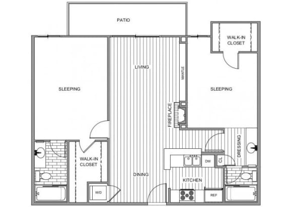 Floor Plan  Two bedroom floor plan l Broadstone Coronado on the Bay Apartments in Coronado CA