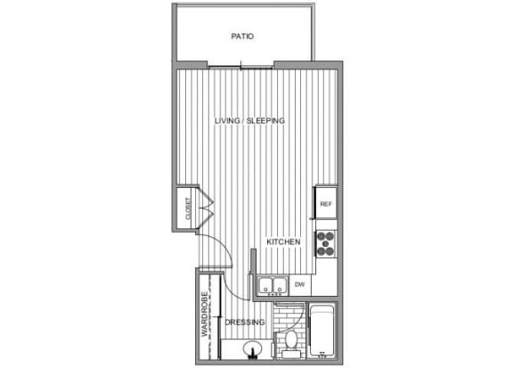 Floor Plan  One bedroom floor plan l Broadstone Coronado on the Bay Apartments in Coronado CA