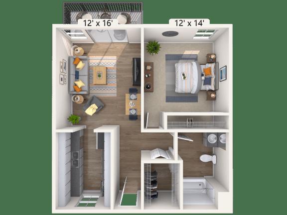 Floor Plan  1 Bed, 1 Bath, 617 sq. ft.