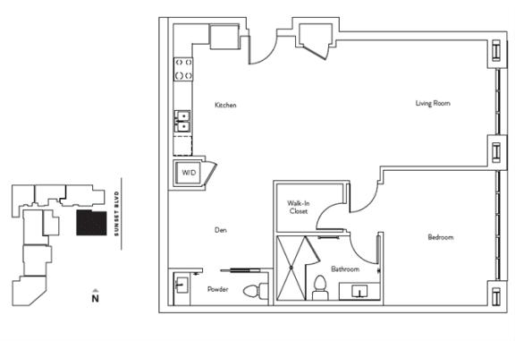 Floor Plan  1 Bed 1.5 Bath 1006 square feet floor plan Residence E