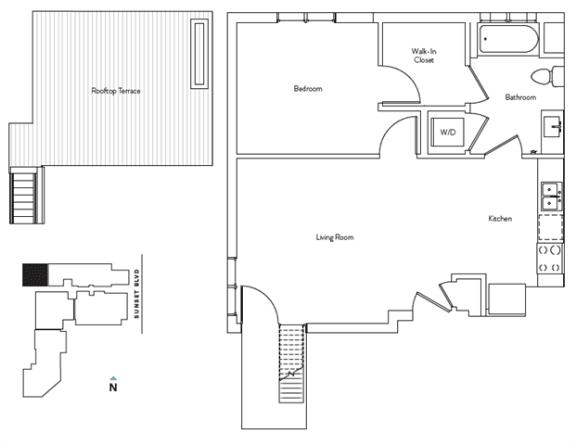 Floor Plan  1 Bed 1 Bath 630 square feet floor plan Residence B.2