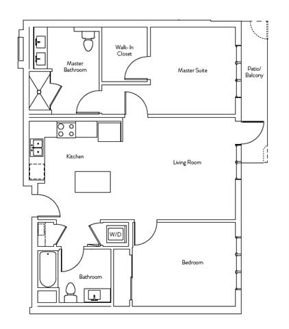 Floor Plan  2 Bed 2 Bath 998 square feet floor plan Residence H