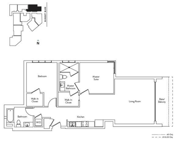 Floor Plan  2 Bed 2 Bath 1041 square feet floor plan Residence I