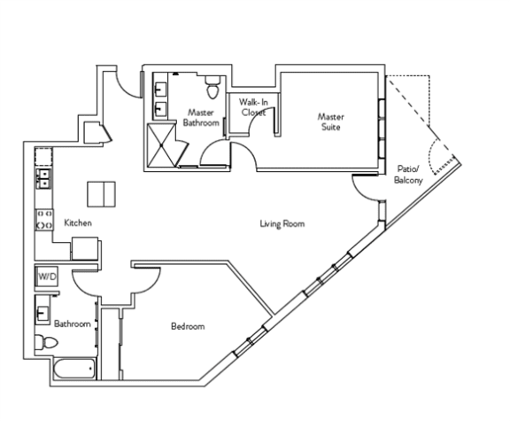 Floor Plan  2 Bed 2 Bath 1186 square feet floor plan Residence K