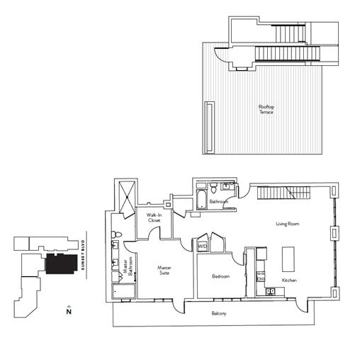 Floor Plan  2 Bed 2 Bath 1548 square feet floor plan Residence M