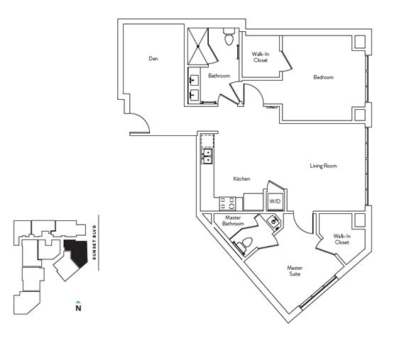 Floor Plan  2 Bed 2.5 Bath 1083 square feet floor plan Residence J