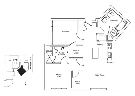 Floor Plan  2 Bed 2 Bath 947 square feet floor plan Residence G