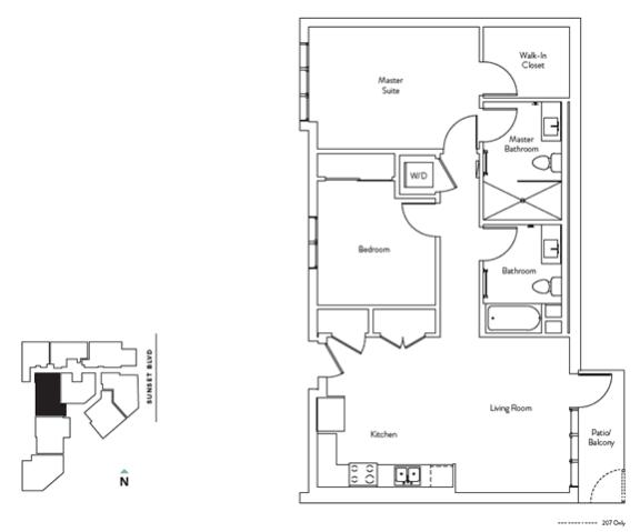 Floor Plan  2 Bed 2 Bath 944 square feet floor plan Residence F