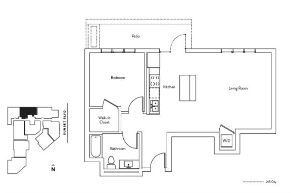 Floor Plan  1 Bed 1 Bath 714 square feet floor plan Residence C