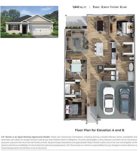 Floor Plan  PLAN 1641 Floor Plan at Emerald Lakes South, Ocean Springs