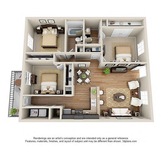 Floor Plan  3 Bed, 2 Bath, 1082 sq. ft.