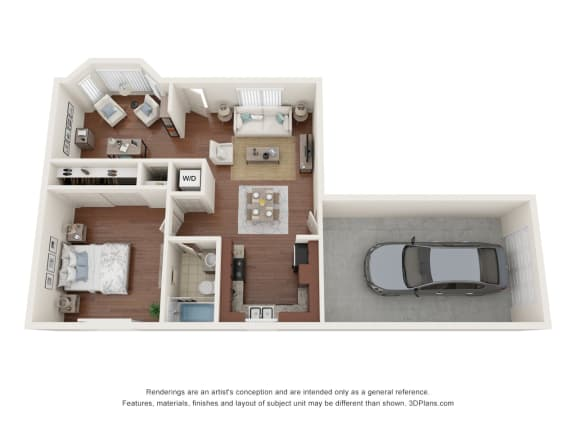 Floor Plan  One bedroom with Den and attached garage
