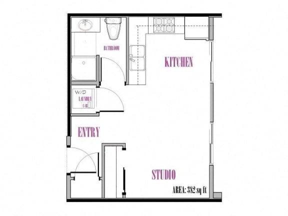 Floor Plan  Studio, 1 ba, 382-383 sq. ft. Back Peak