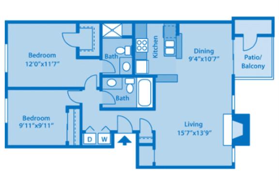 Floor Plan  Sundown Village 2B Floor Plan image depicting floor plan layout.