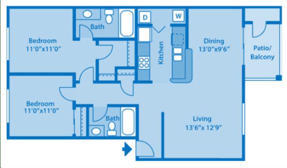 Floor Plan  Sundown Village 2C Floor Plan image depicting floor plan layout.