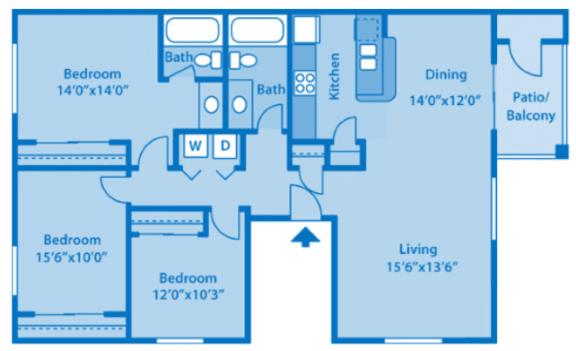Floor Plan  Sundown Village 3B Floor Plan image depicting floor plan layout.