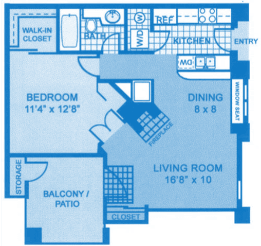 Floor Plan  Ridgepointe A1 Floor Plan depicting dimensions of apartment home.