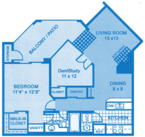 Floor Plan  Ridgepointe C1 Floor Plan depicting dimensions of apartment home.