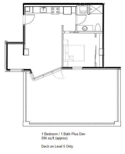Floor Plan  1 Bedroom 1 Bath + Den