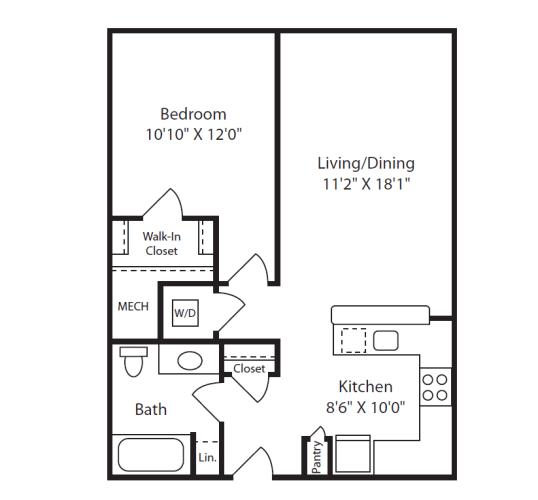 Floor Plan  1 Bed/1 Bath A