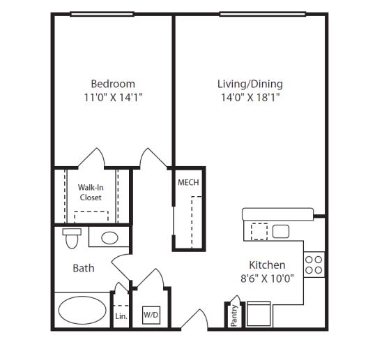 Floor Plan  1 Bed/1 Bath B