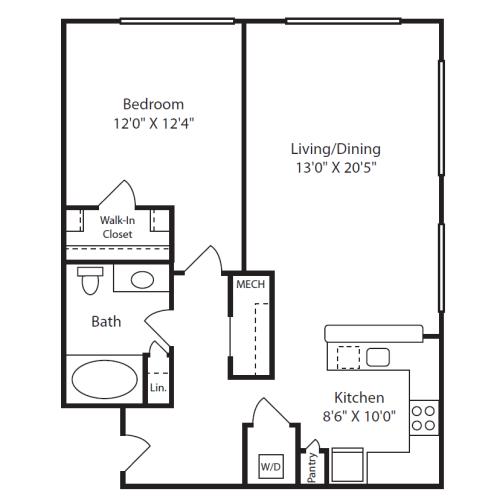 Floor Plan  1 Bed/1 Bath D