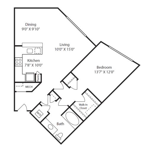 Floor Plan  1 Bed/1 Bath E