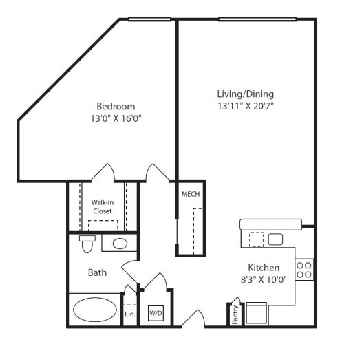 Floor Plan  1 Bed/1 Bath F
