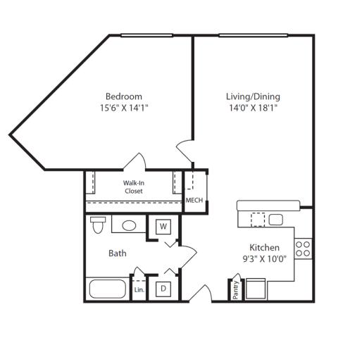 Floor Plan  1 Bed/1 Bath G