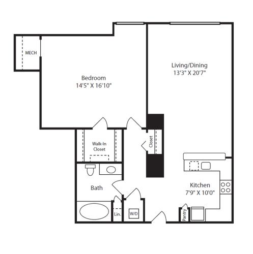 Floor Plan  1 Bed/1 Bath H