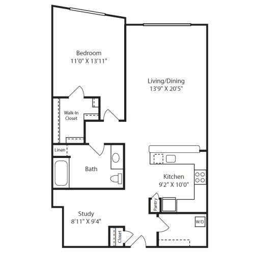 Floor Plan  1 Bed/1 Bath J