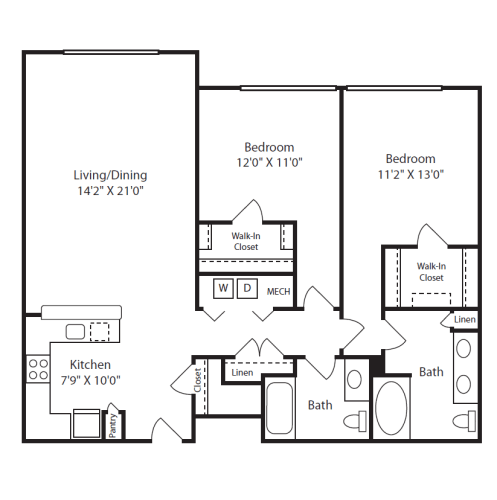 Floor Plan  2 Bed/2 Bath E