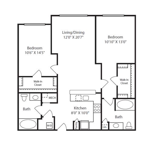 Floor Plan  2 Bed/2 Bath C